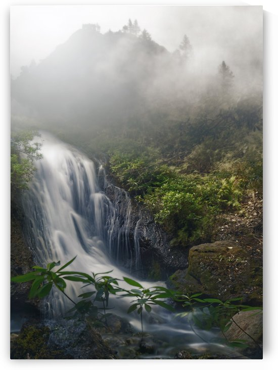 Foggy Mountains Waterfall by Artistic Paradigms