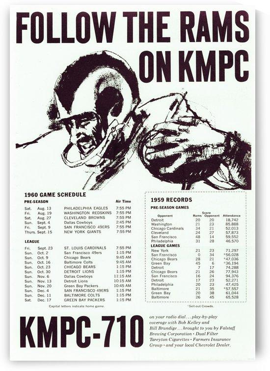 1960 vintage radio ads kmpc radio los angeles radio station follow the rams by Row One Brand