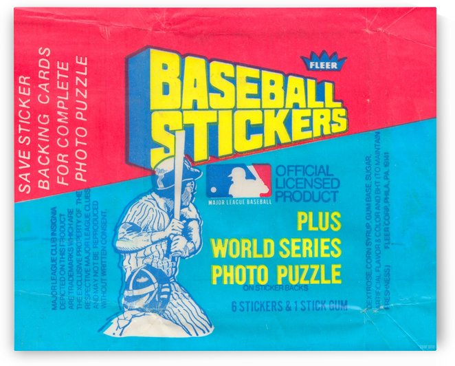 vintage fleer mlb baseball sticker package art design reproduction art by Row One Brand