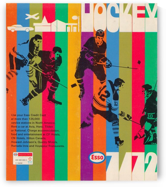 1971 hockey poster vintage esso ad retro sports advertisement art by Row One Brand