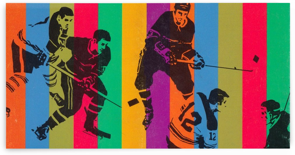 vintage hockey art colorful sports art poster by Row One Brand