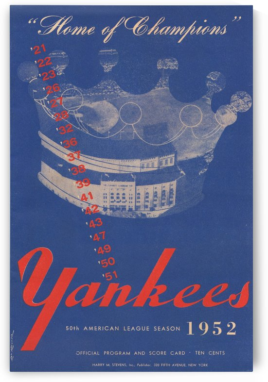 1952 new york yankees program score card poster art reproduction vintage baseball by Row One Brand