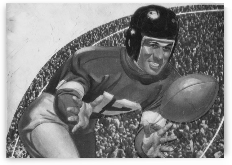 black and white vintage football posters retro bw sports art print by Row One Brand
