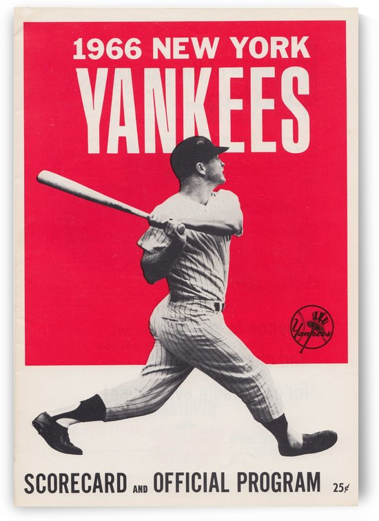 1966_new york yankees score card program baseball art vintage poster by Row One Brand