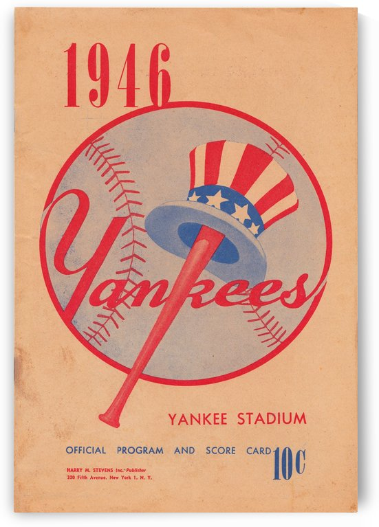 1946 new york yankees program score card yankee stadium bronx nyc home decor poster art by Row One Brand