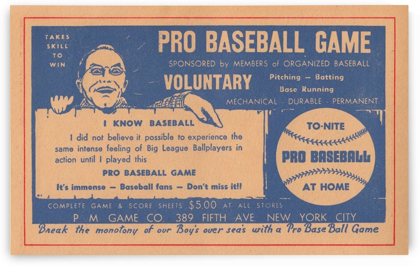 pro baseball game vintage board game ad poster art by Row One Brand