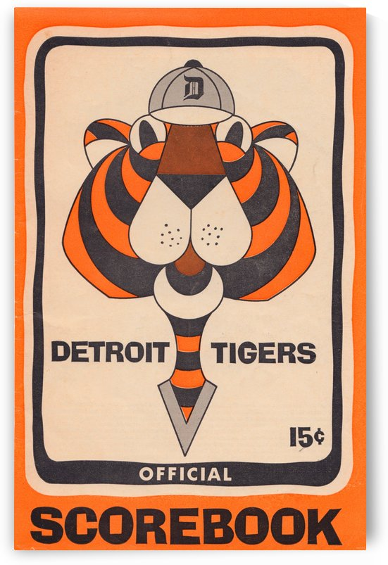 1965 detroit tigers scorebook baseball art poster reproduction by Row One Brand