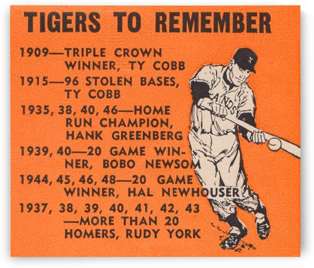 detroit tigers to remember poster ty cobb hank greenberg rudy york baseball print sports art by Row One Brand