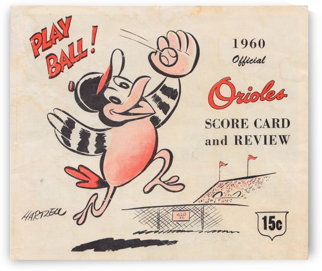 1960 baltimore orioles baseball score card art baseball poster by Row One Brand