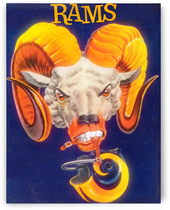 vintage rams poster los angeles la rams art nfl team poster by Row One Brand