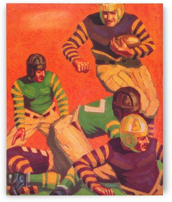 gridiron artwork vintage football uniform vintage football helmet art poster by Row One Brand