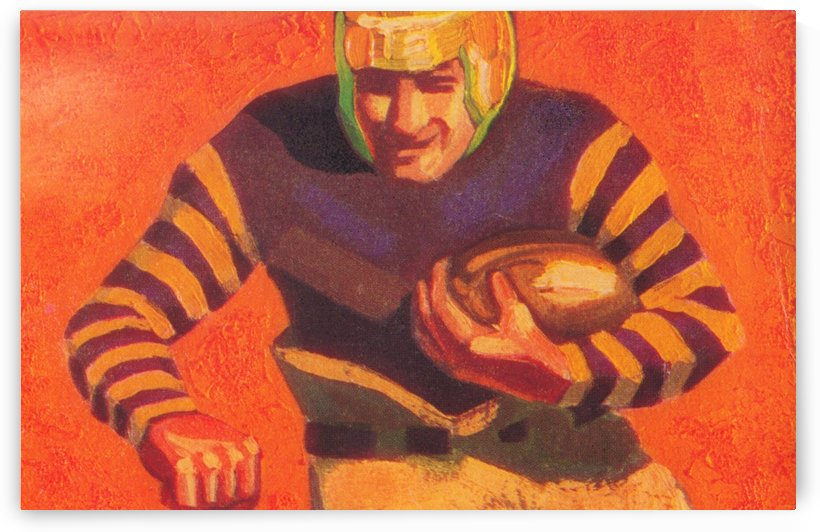 gridiron artwork vintage football uniform vintage football helmet art running back poster by Row One Brand