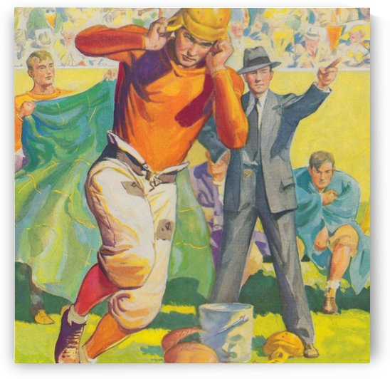 football poster american vintage gridiron sideline art print by Row One Brand
