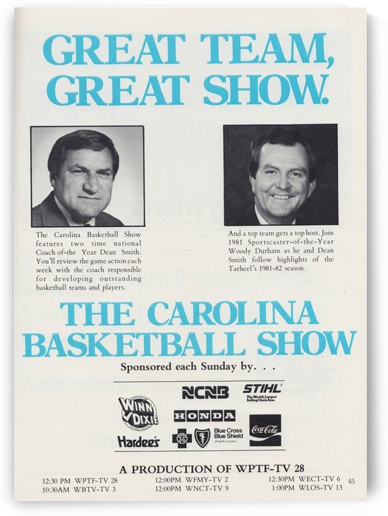 Dean Smith Carolina Basketball Show Poster UNC Tarheels College Basketball TV Show by Row One Brand