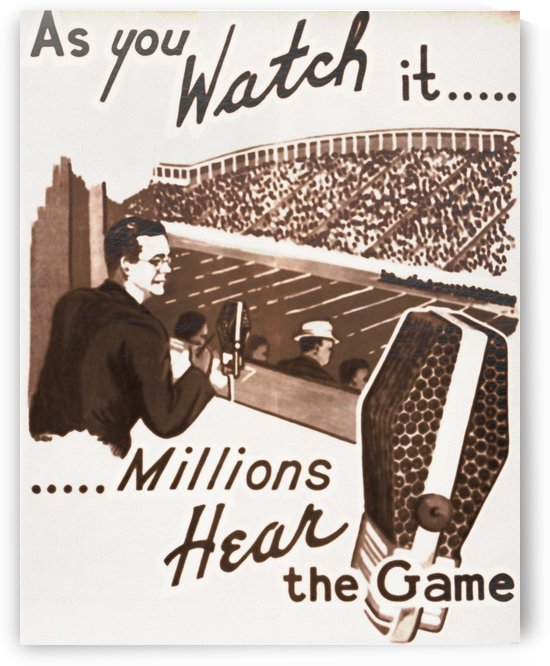 Vintage Sports Radio Station Poster_College Football Broadcast_Vintage Sports Ad by Row One Brand
