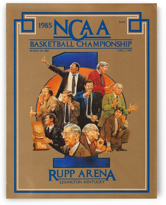 1985 NCAA Basketball Championship Rupp Arena Lexington Kentucky Ted Watts Cover Art Coaches Poster by Row One Brand