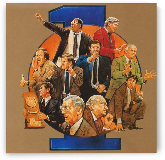 Legends of Coaching_College Basketball Legendary Coaches_John Wooden_Bobby Knight_Dean Smith_Art by Row One Brand