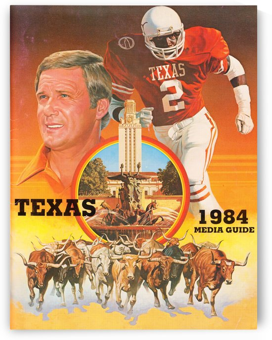 1984 Texas Longhorns Media Guide College Football Poster by Row One Brand