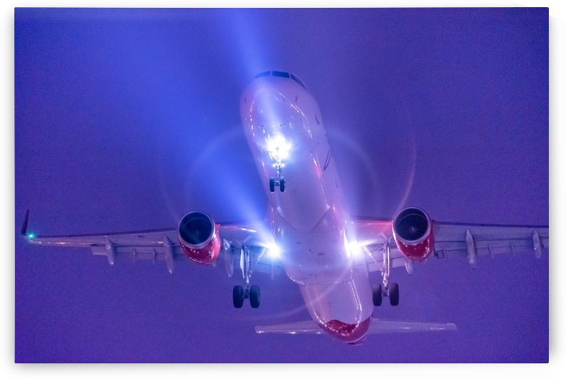 Close up plane at night by RezieMart