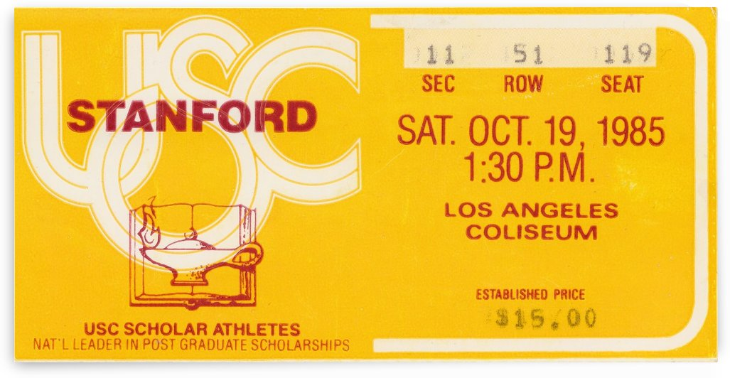 1985_College Football_USC Trojans vs. Stanford_Los Angeles Coliseum_Ticket Stub Poster Print by Row One Brand