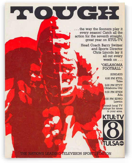 1979 ktul tv oklahoma football show barry switzer chris lincoln tulsa television channel 8 ad poster by Row One Brand