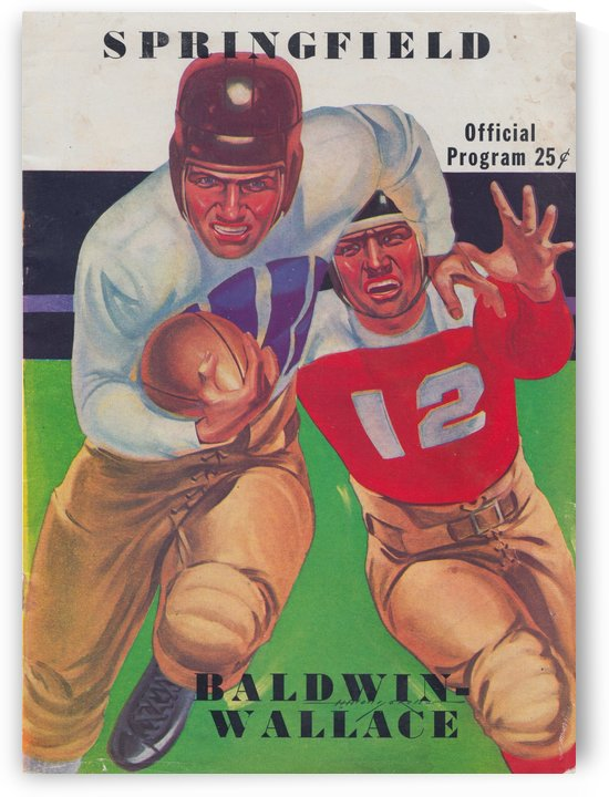 1937_College Football Poster_Springfield College vs. Baldwin Wallace_Springfield Massachusetts Art by Row One Brand