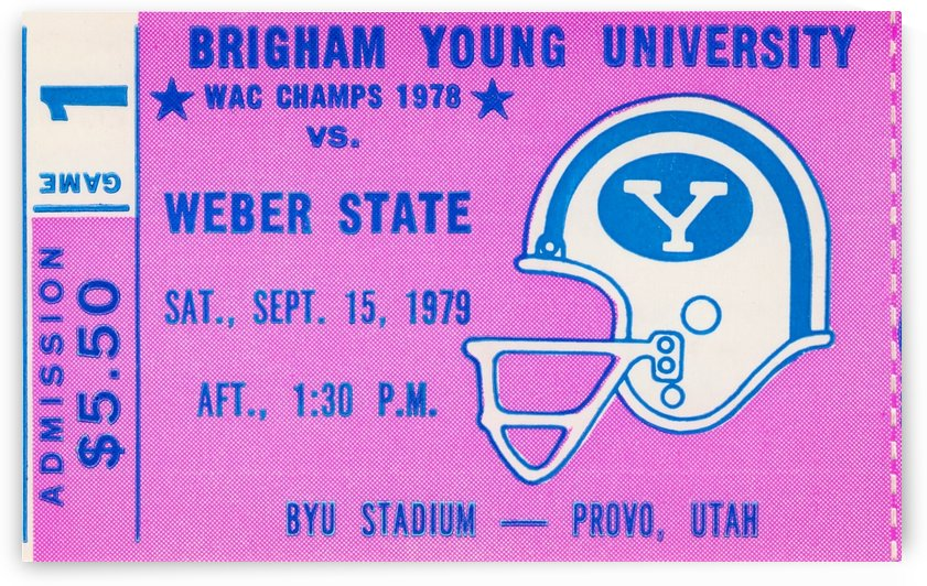 BYU Ticket Stub Football Art Poster by Row One Brand