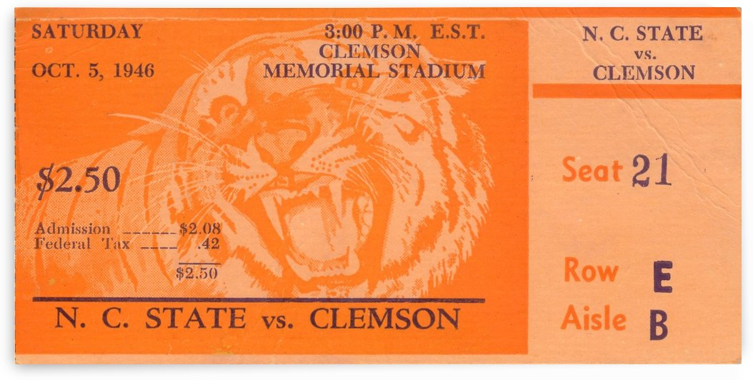 1946_College_Football_Clemson vs. N.C. State_Memorial Stadium_Clemson Tigers Man Cave by Row One Brand