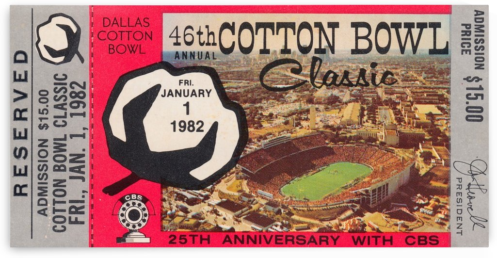 1982 Cotton Bowl Texas Win by Row One Brand