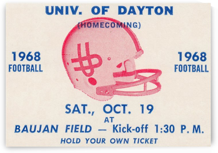 Vintage Dayton Flyers Football Ticket Poster by Row One Brand