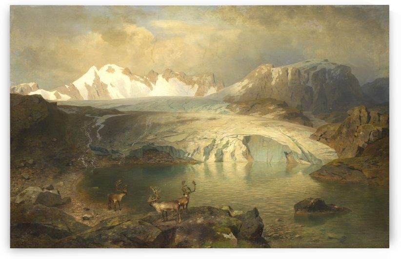Fjordlandschaft mit Gletscher und Rentieren by August Wilhelm Leu