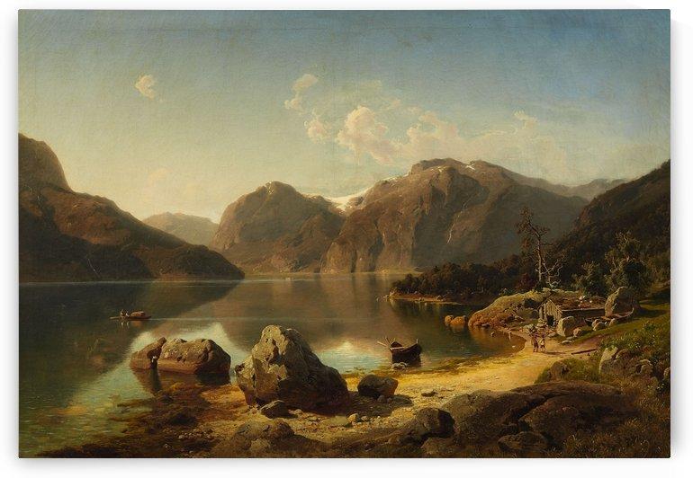 Norwegische Gebirgslandschaft am Morgen by August Wilhelm Leu