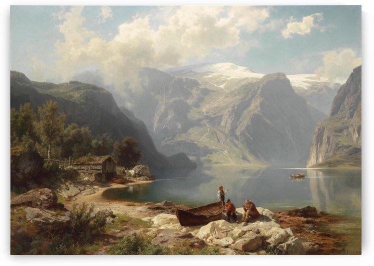 Sonniger Tag an einem norwegischen Fjord by August Wilhelm Leu