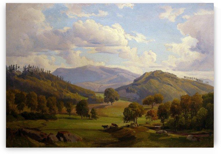 Blick auf den Felsberg im Odenwald by August Wilhelm Leu