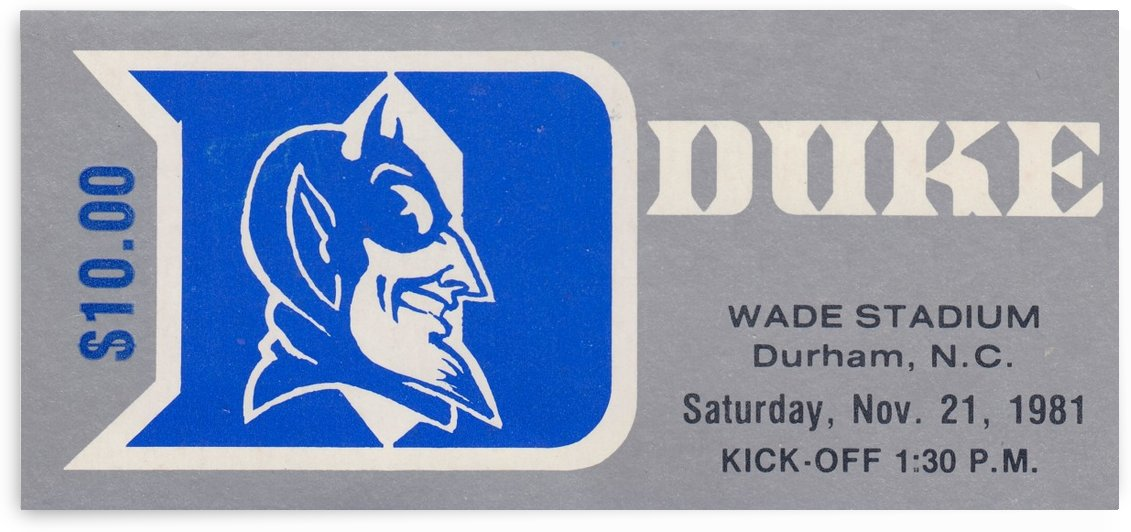 Duke University College Football Ticket Art Poster Metal Print by Row One Brand
