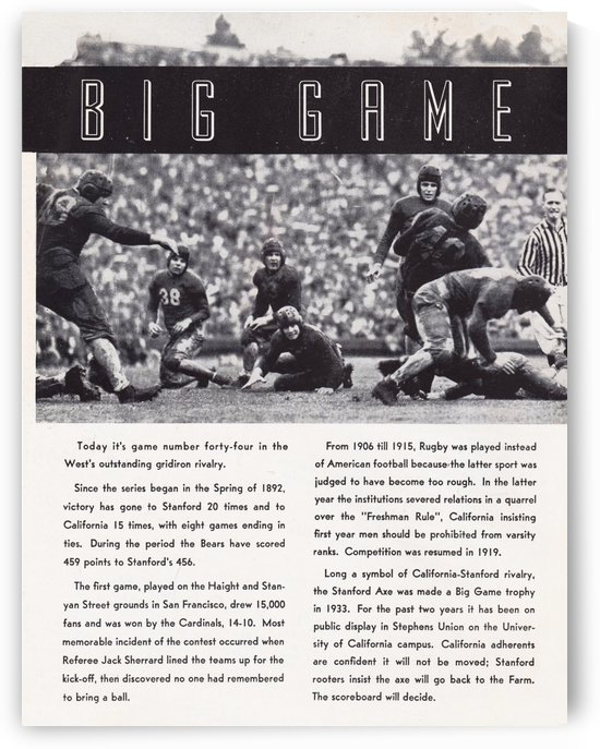1938 Big Game Football Poster_Unique Sports Gifts by Row One Brand
