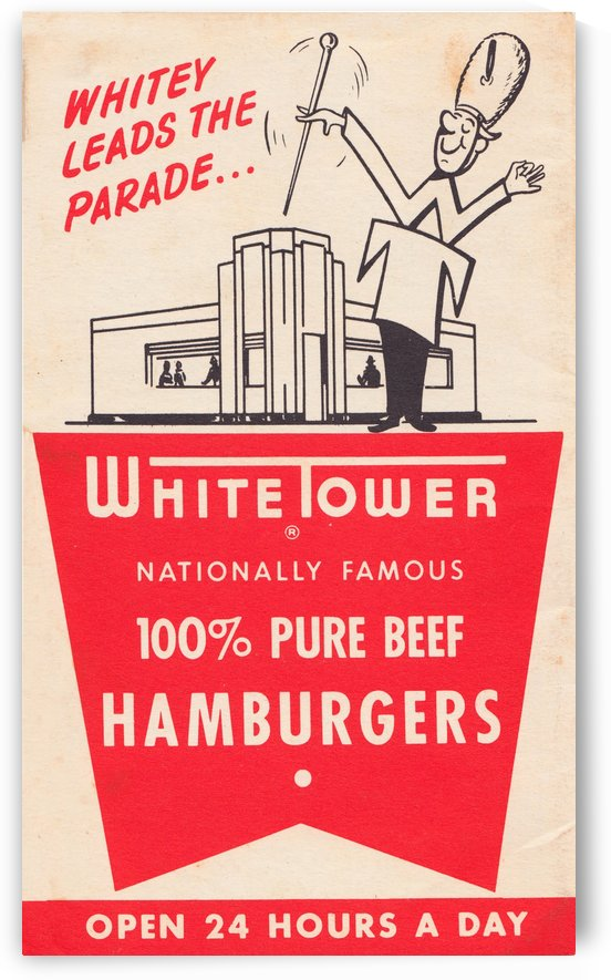 white tower hamburger ad by Row One Brand