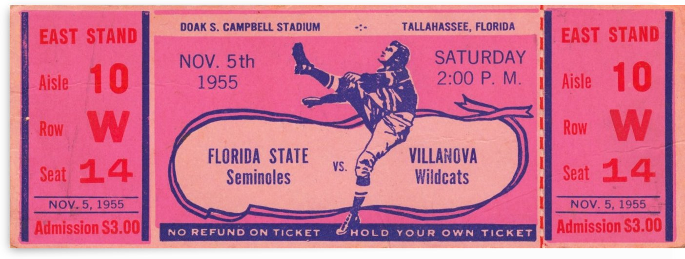 1955_College_Football_Florida State vs. Villanova_Campbell Stadium_FSU Gift Ideas Row One by Row One Brand