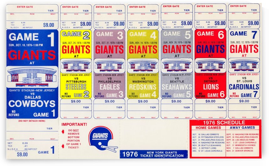 1976 New York Giants NFL Ticket Sheet Reproduction Poster Row One by Row One Brand