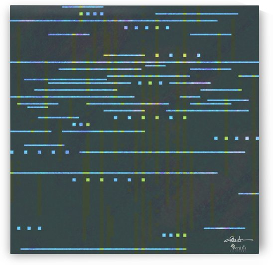 Data Stream in Cyan & Teal 1x1 by Veratis Editions