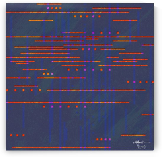 Data Streams in Red & Blue 1x1 by Veratis Editions