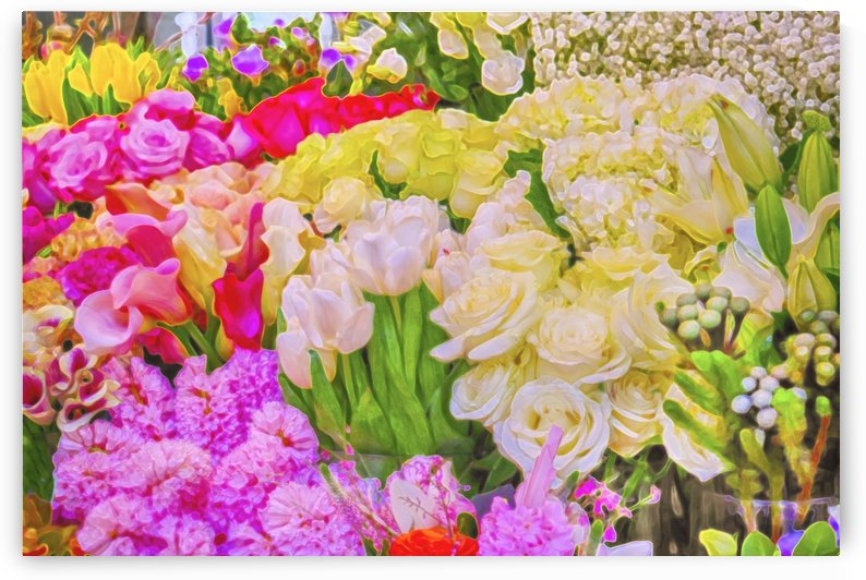 Abstract colorful flowers by Allan Castle