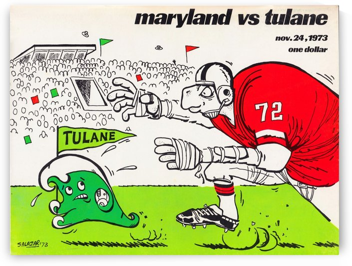 1973 Maryland vs. Tulane College Football Program Poster Art by Row One Brand