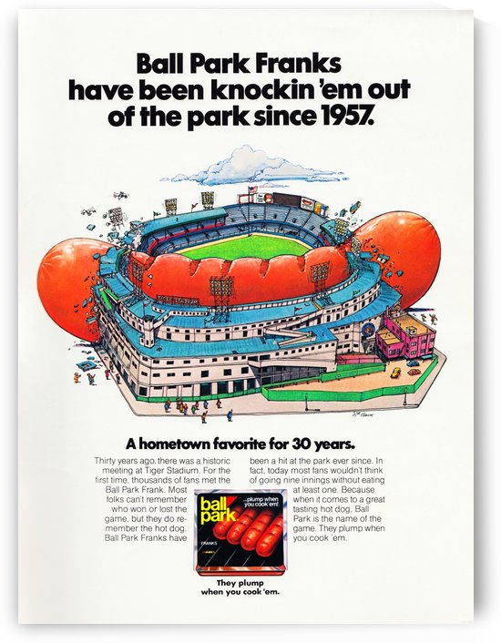 Ball Park Franks Ad_Retro Food Advertisement_Vintage Sports Ad Poster by Row One Brand