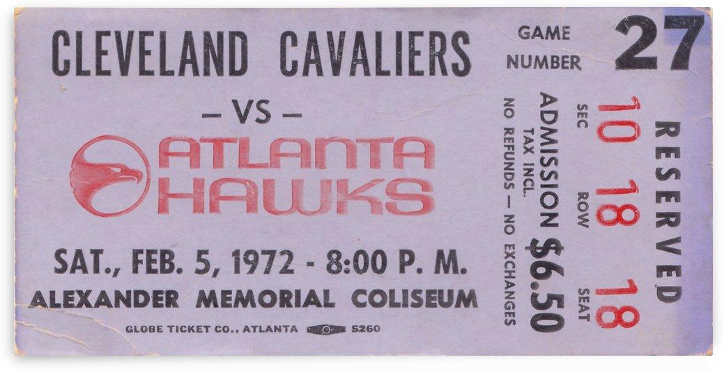 1972 Atlanta Hawks vs. Cleveland Cavaliers NBA Basketball Ticket Stub Art_Old Ticket Stubs by Row One Brand