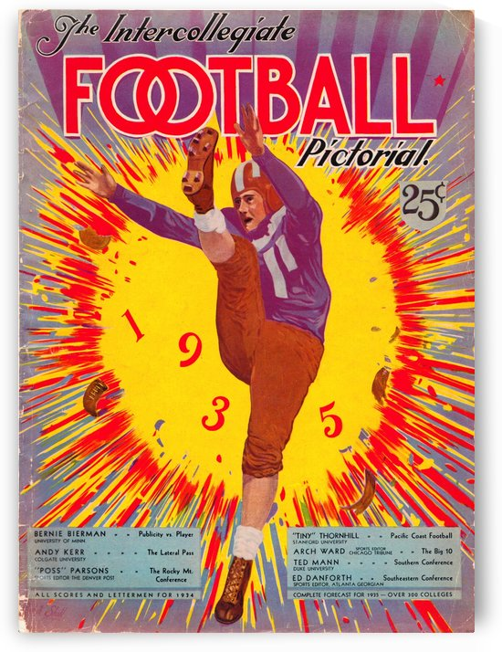1935 Intercollegiate Football Pictoral Magazine Poster by Row One Brand