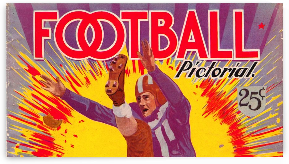 Football Pictoral 25 Cents Vintage Gridiron Art by Row One Brand