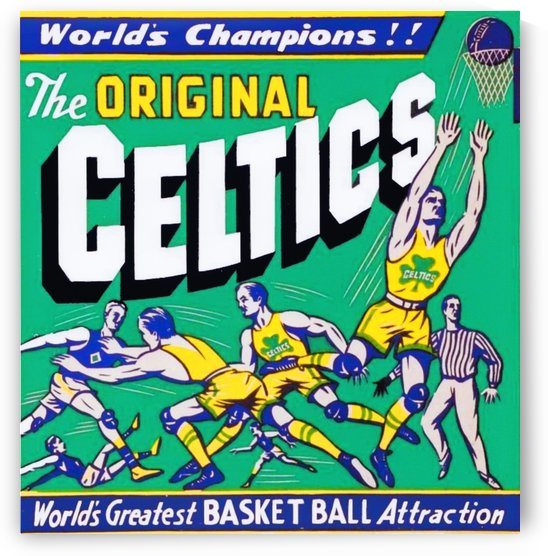 Vintage Celtics Basketball Art_Original Celtics Poster by Row One Brand
