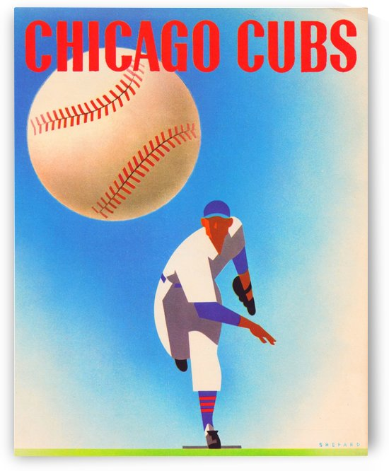 Otis Shepard Remix_Public Domain Sports Art Remixes_Chicago Cubs Poster by Row One by Row One Brand