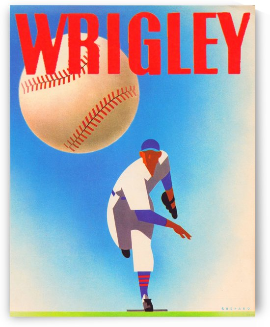 Row One Brand Sports Art Remixes_Public Domain Sports Art Remix_Chicago Cubs Wrigley Poster by Row One Brand